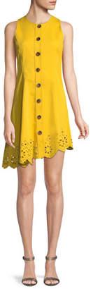 Derek Lam 10 Crosby Sleeveless Button-Down Cotton Dress with Scalloped Hem