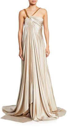Oscar de la Renta Gathered Asymmetric Chain Strap Satin Gown