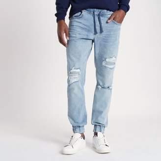 River Island Mens Light blue Ryan ripped jogger jeans