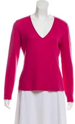 Loro Piana Cashmere V-Neck Sweater Magenta Cashmere V-Neck Sweater