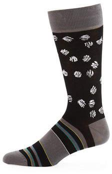 Bugatchi Men's Striped Scratched-Dot Socks