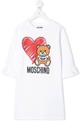 Moschino Kids bear and heart print T-shirt dress