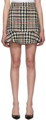 RED Valentino White and Black Check Tweed Miniskirt