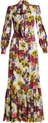 Dolce & Gabbana Primrose-print silk-blend charmeuse gown