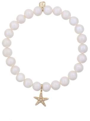 Sydney Evan 14kt gold and pearl beaded bracelet with diamond starfish charm