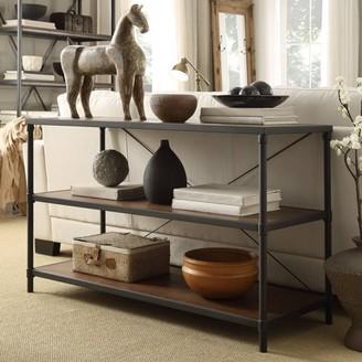 Weston Home Wood and Metal Sofa Table With two lower bookshelfs