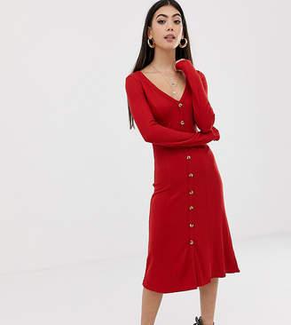 Asos DESIGN Petite rib button through midi dress