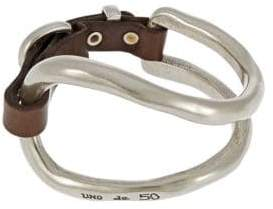Uno de 50 Leather Strap Accented Cuff Bracelet