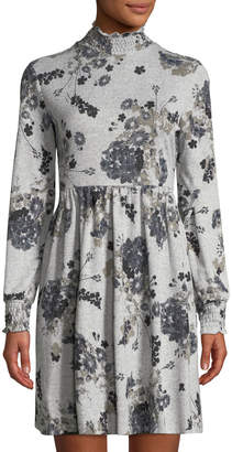 Neiman Marcus Smocked Turtleneck Long-Sleeve Floral-Print Mini Dress