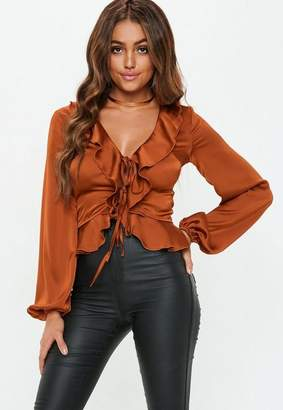 Missguided Rust Ruffle Front Double Tie Blouse