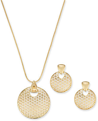"Charter Club Gold-Tone Textured Disc Pendant Necklace & Drop Earrings Set, 17"" + 2"" extender"