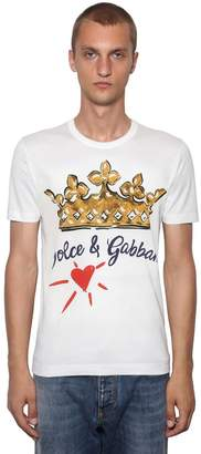 Dolce & Gabbana Crown & Logo Printed Cotton T-Shirt