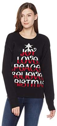 Ugly Fairisle Unisex Adult Jacquard Joy Love Peace Believe Christmas Crewneck Long Sleeve Christmas Sweater XS Black/Red / White