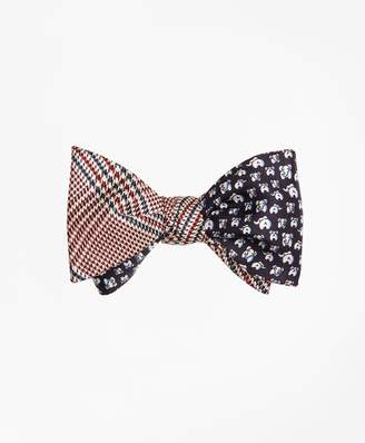 Brooks Brothers Plaid with Elephant Motif Reversible Bow Tie