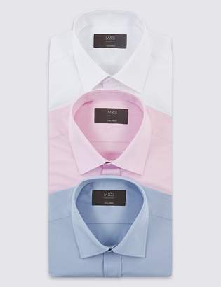 Marks and Spencer 3 Pack Cotton Blend Tailored Fit Shirts