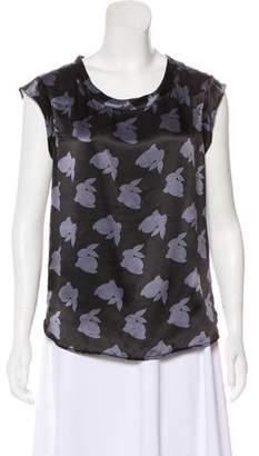 3.1 Phillip Lim Silk Short Sleeve Bunny Print Blouse