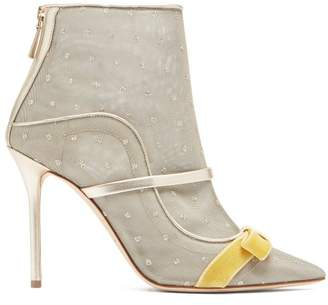Malone Souliers By Roy Luwolt - Claudia Mesh And Leather Ankle Boots - Womens - Gold