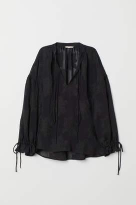 H&M Balloon-sleeved Blouse - Black