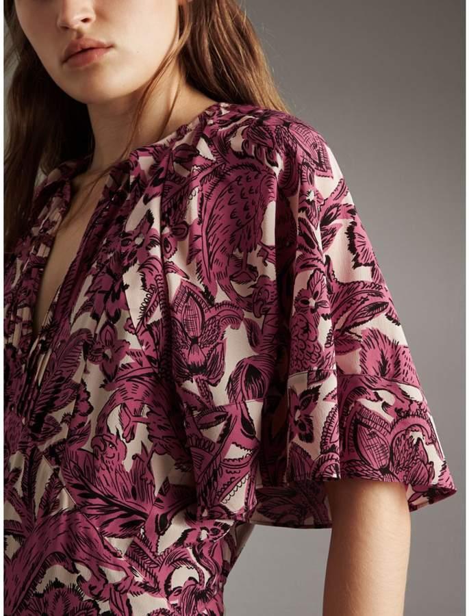 Burberry Beasts Print Deep V-neck Silk Longline Dress