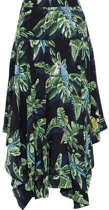 Stella McCartney Birds Of Paradise Asymmetric Printed Silk Crepe De Chine Midi Skirt