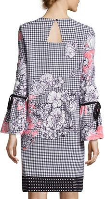 Label By 5twelve Floral & Gingham Bell-Sleeve Sheath Dress
