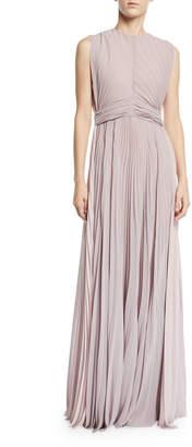 Tre By Natalie Ratabesi Crewneck Pleated Silk-Chiffon Gown