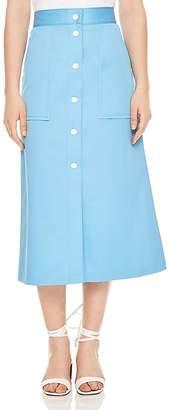 Sandro Plume Snap-Detail Cotton Midi Skirt