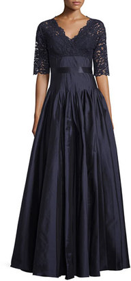 Rickie Freeman for Teri Jon Half-Sleeve Lace Combo Gown, Navy $695 thestylecure.com