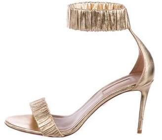 Aquazzura Metallic Leather Ankle Strap Sandals Gold Metallic Leather Ankle Strap Sandals