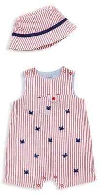 Little Me Baby Boy's 2-Piece Cotton Shortalls & Bucket Hat Sunsuit Set