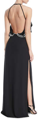Halston Open-Back Gown w/ Ruffle Detail