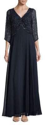 J Kara Petite V-Neck Sequin Floor-Length Dress