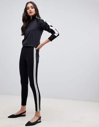 Miss Selfridge leggings with side stripe in black