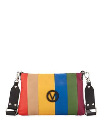 Mario Valentino Valentino By Vanille Rainbow Striped Leather Shoulder Bag