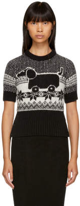 Thom Browne Black and White Mohair Hector Toy Sweater