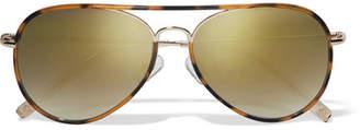 Matthew Williamson - Aviator-style Acetate And Gold-tone Mirrored Sunglasses