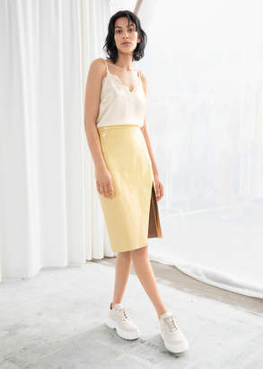 And other stories Leather Midi Pencil Skirt