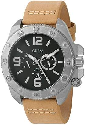 GUESS Men's U0659G4 Trendy Silver-Tone Stainless Steel Watch with Multi-function Dial and Tan Strap Buckle
