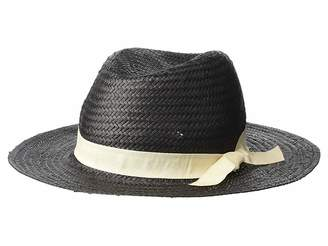 BCBGeneration Embroidered Word Woven Straw Panama