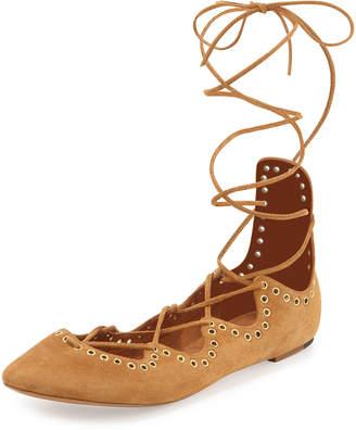 Isabel Marant Leo Ankle-Wrap Ballerina Flat Light Brown