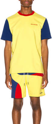 Leon Aime Dore Color Blocked Logo Tee in Highlighter Yellow | FWRD