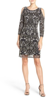 Women's Pisarro Nights Embellished Mesh Sheath Dress $218 thestylecure.com