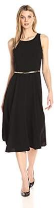 Julian Taylor Women's Solid Fit and Flare Belted Dress