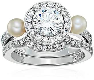 Swarovski Platinum Plated Sterling Silver Zirconia Cultured Freshwater Halo Pearl Bridal Ring Set