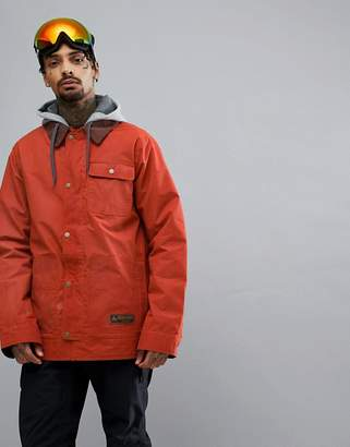 Burton Snowboards Dunmore Ski Jacket Isulated Waxed Canvas Detachable Sweat Hood In Red