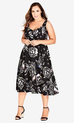 City Chic Flower Power Fit & Flare Midi Dress
