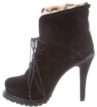 Elizabeth and James Fur-Trimmed Platform Ankle Boots