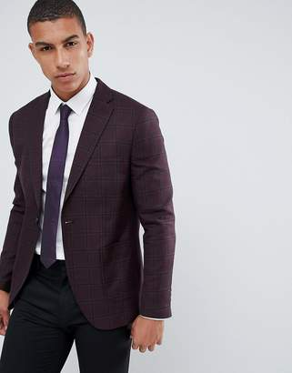 Selected Check Blazer With Notch Lapel And Patch Pockets In Slim Fit