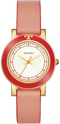 Tory Burch ELLSWORTH WATCH, CORAL LEATHER/GOLD-TONE, 36MM