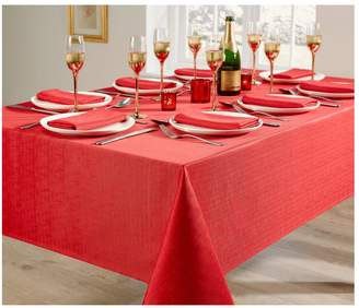 Very Linen Look 8 Place Setting Tablecloth and Napkin Set – Red
